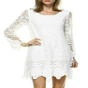 Lori + Mari White Lace Shift Dress